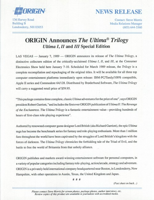 UltimaTrilogyPressRelease