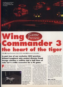 Wing Commander 3 Preview Part 2 - PC Format Page 1