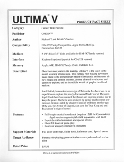 Ultima 5 Product Fact Sheet Mockup #1