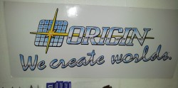 A 5 foot Origin logo